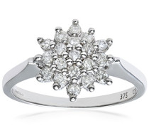 Damen-Ring 9 K 375 Weißgold 19 Diamant