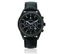 272,–Elegance Chrono–Armbanduhr–Quarz Chronograph–Schwarzes Ziffernblatt–Armband Leder Schwarz