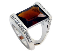 Damen-Ring 925 Sterling Silber Zirkonia braun