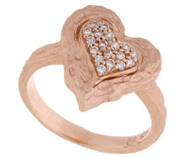 Damen-Ring Silber vergoldet mattiert Zirkonia weiß Brillantschliff