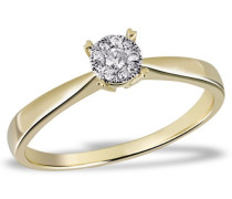Damen-Ring Glamour 585 Gelbgold 10 Diamanten 0,10 ct. Gr. 56 Pa R5017GG56 Brillanten  Diamantring Verlobung