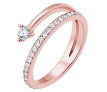 Damen-Ring Microsetting 925 Silber Zirkonia weiß Brillantschliff