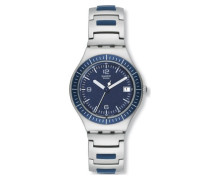 Swatch Herren-Armbanduhr XL Analog Quarz Edelstahl YGS4013AG