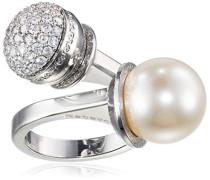 Damen-Ring Hollywood Vergoldet rhodiniert Zirkonia weiß Synthetische Perle Weiß Ringgröße verstellbar - BHOABB03