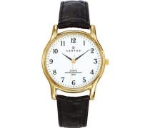 611240 Herren-Armbanduhr, Quarz, analog, Zifferblatt weiß, schwarzes Lederarmband
