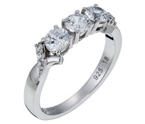 Damen-Ring 925 Sterling Silber rhodiniert Glas Zirkonia L'Esthétisme Symphonie weiß