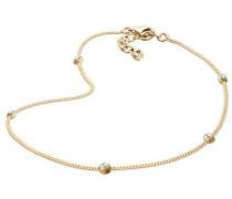 Damen Schmuck Fußschmuck Fußkettchen Klassiker Silber 925 Vergoldet Swarovski Kristalle Gold Länge 25 cm
