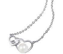 Damen-Herz-Halskette Herz Süßwasserzuchtperle 375 Weißgold Herzanhänger Perlenkette