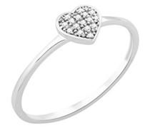 Damen-Ring 9 Karat (375) Weißgold Diamant 0,04 Karat, Größe 52, MF9058R2