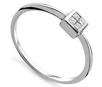 Damen Ring 9 Karat (375) Weißgold Brillanten Prinzessschliff