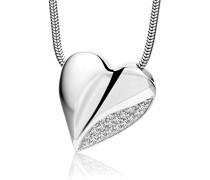 Damen-Halskette 925 Sterling Silber mit Herz-Anhänger Zirkonia 45 cm MSM179N