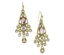 Ohrringe goldfarben Kristall, Hellrosa, Tropfenform