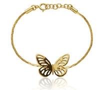 Damen 18ct Gelb Vergoldet Sterling Silber Schmetterling Kette, Armband der Länge 19cm