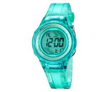 Damen-Armbanduhr Digital mit Türkis Zifferblatt Digital Display und Türkis Kunststoff Gurt k5688/4