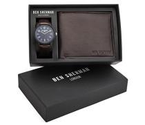 Ben Sherman Herren Armbanduhr mit Blau Zifferblatt Analog Display und schwarz PU Gurt wb050ubr G