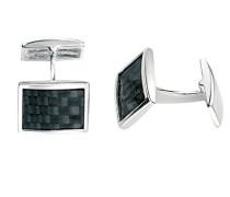 Herren-Manschettenknöpfe 925 Sterling Silber schwarz V343B Manschettenknöpfe mit schwarzer Kohlenstofffaser-Einlegearbeit