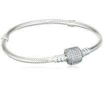 Damen-Armband mit Pavé-Kugelverschluss 925 Silber Zirkonia transparent 18.0 cm - 590723CZ-18