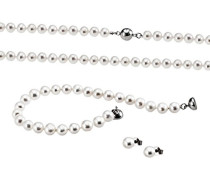 Damen Schmuckset Halskette + Armband + Ohrringe 925 Sterlingsilber mit Süßwasserperlen Kettenanhänger Schmuck