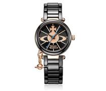Damen Armbanduhr Kensington Analog Keramik schwarz VV067RSBK