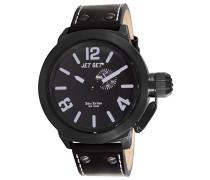 – J1142B-267– San Remo – Analoge Quarz-Armbanduhr für Herren – schwarzes Zifferblatt –schwarzes Lederarmband