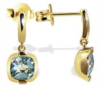 Damen-Ohrstecker 333 Gelbgold 2 hellblaue Topas Ohrringe Schmuck