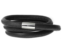 Damen Armband Edelstahl Magentverschluss Leder 54 cm Schwarz 12101-54