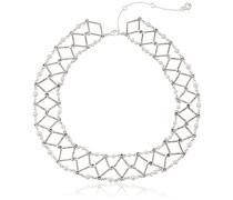 Drama Halsband Silber, weiß und Kristall Halskette von 40cm