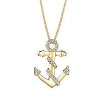 Damen Schmuck Halskette Kette mit Anhänger Anker Maritim Hanseatisch Silber 925 Vergoldet Swarovski Kristalle Gold Länge 45 cm