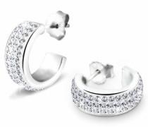 Damen Creolen 925 Sterling Silber Swarovski Kristall Brillantschliff weiß 3201284