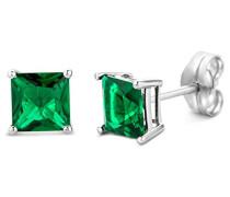 Damen-Ohrstecker 9 Karat weißgold Edelstein  375 Quadratschliff Smaragd grün