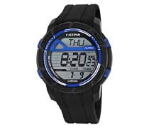 Herren Digitale Armbanduhr mit LCD Dial Digital Display und schwarz Kunststoff Gurt k5697/8