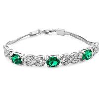 Damen-Armband 925 Sterling-Silber Ovalschliff Grün Synthetischer Smaragd