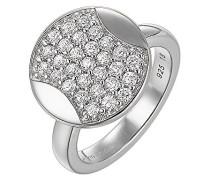 Damen-Ring 925 Sterling Silber rhodiniert Glas Zirkonia Nouvel Âge weiß