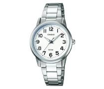 LTP-1303PD-7BVEF Damen-Armbanduhr, analog, weißes Zifferblatt, Stahl-Armband, silberfarben