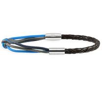 men Herren Armband mit Magnetschließe 925 Silber rhodiniert Leder braun Paracord blau grau 21 cm