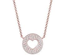 Premium Damen-Kette mit Anhänger Herz Münze 925 Silber weiß Facettenschliff 45 cm 0101590317_45
