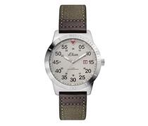 s.Oliver Herren-Armbanduhr XL Analog Quarz Leder SO-2979-LQ