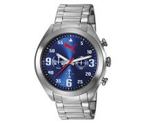 Puma Tasche Fame Unisex Quarzuhr mit blauem Zifferblatt Chronograph Anzeige und Silber-Edelstahl-Armband PU103871002