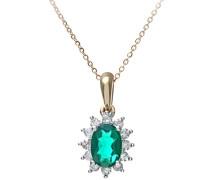 Damen-Halskette375 Smaragd 0,25 ct Grün Ovalschliff 46 cm PP05203YEM