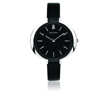 034l633–Week End Linie Pure Damen-Armbanduhr–Quarz Analog–Zifferblatt schwarz Armband Leder schwarz