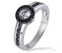 Damen-Ring 925 Sterling Silber Black Eye 1 weißer und 22 schwarze Zirkonia