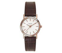 Classic 98V31 - Damen Designer-Armbanduhr - Armband aus Leder - Elegantes Design - Braun/Roségoldfarben