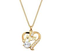Damen-Kette mit Anhänger Herz 925 Silber Zirkonia Brillantschliff gold   45 cm - 0112171514_45
