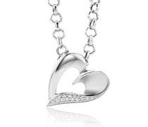Damen-Halskette Herz 925 Sterling Silber 13 Zirkonia 45cm