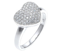 PREMIUM Damen Ring Herz 925 Sterling Silber Zirkonia Brillantschliff weiß Größe: 56 mm 0606480315