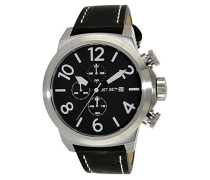 –j66603–267–New York–Armbanduhr–Quarz Chronograph–Schwarzes Ziffernblatt–Armband Leder Schwarz