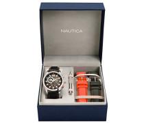 Nautica Herren-Armbanduhr XL Analog Quarz Leder A22564G