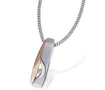 Damen-Halskette 925 Sterlingsilber rot vergoldet ein weißer Zirkonia rosegold Schmuck