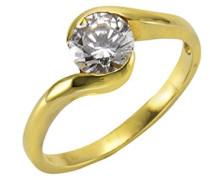 Gold Damen-Ring 375 Gelbgold Zirkonia weiß Brillantschliff