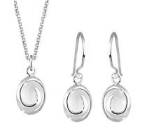 Damen-Halskette + Ohrringe 925 Sterling Silber Mondstein weiß Carbochonschliff 0904212012_45